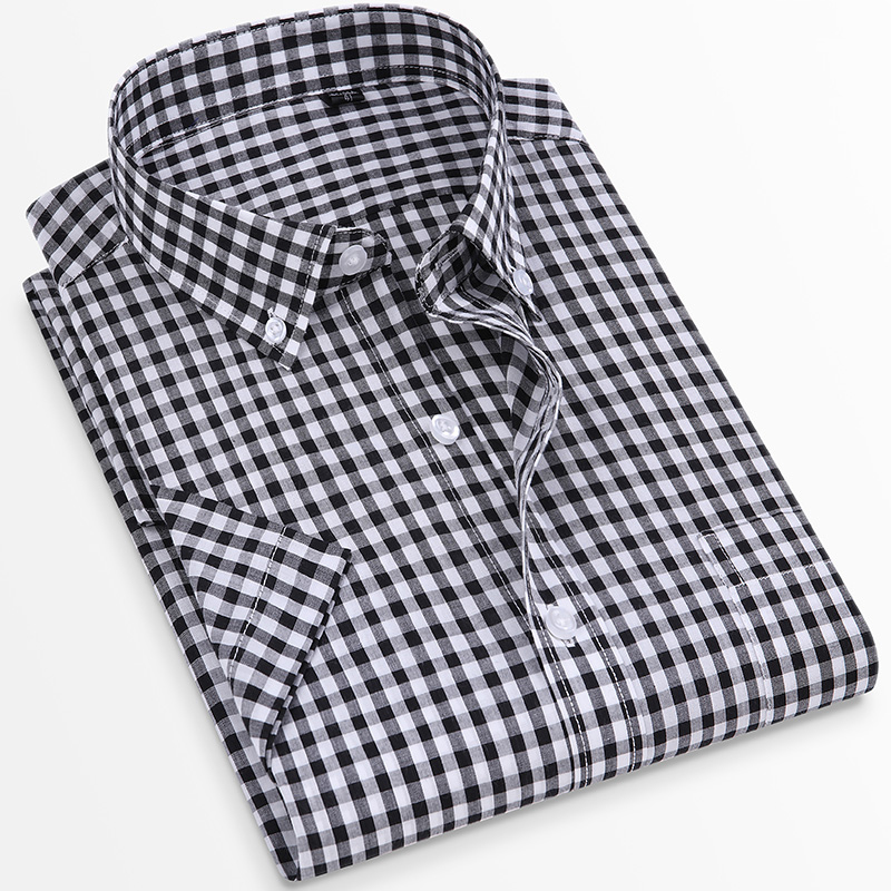 For Summer S~8XL 100% Cotton Breathable Short Sleeve Men's Checkered Shirt  Slim Fit Casual Cool Male Plaid Shirts Many Colors 3
