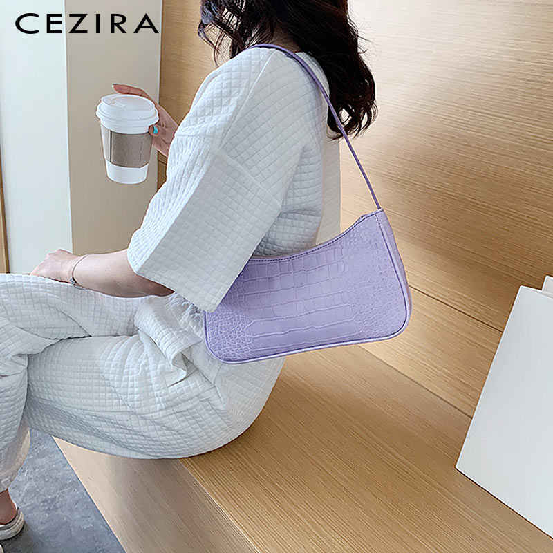 CEZIRA PU หนังแฟชั่นกระเป๋า Baguette สำหรับสตรีจระเข้ Hobo ไหล่กระเป๋าสุภาพสตรีหนังมังสวิรัติกระเป๋าถือ