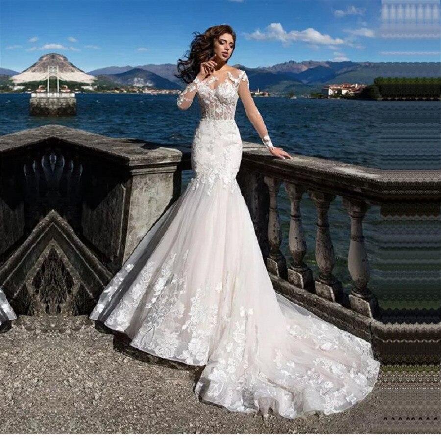 Long Sleeves Sheer Mermaid Wedding Dresses 2020 Modest Spring Fishtail Women Petite Bridal Gowns Customized Long Zipper Back
