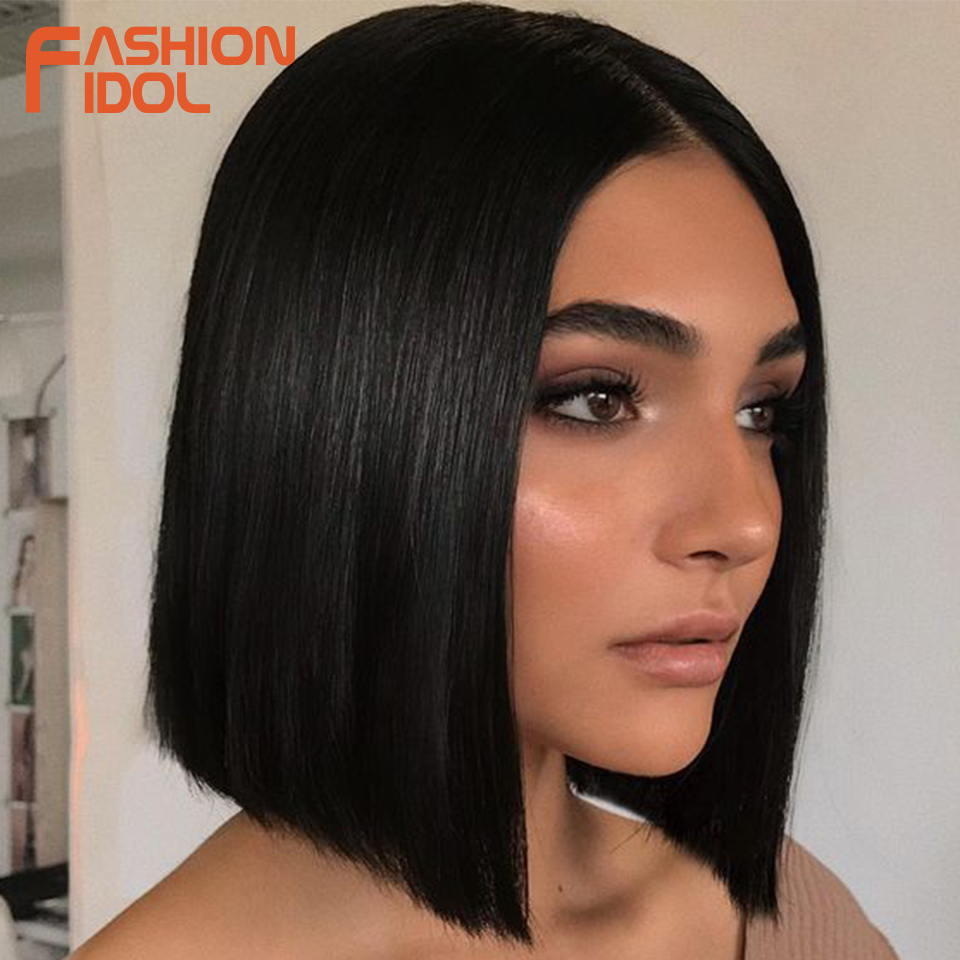 FASHION IDOL 10 Inch Lace Front Wigs Straight Bob Hair Wigs For Women Cosplay Wigs Heat Resistant Synthetic Hair Free Shipping