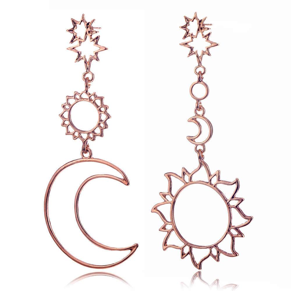 Модные золотые звезды Солнце Луна полые Dorp Серьги для женщин эффектные богемные винтажные Подвесные серьги праздничные подарки