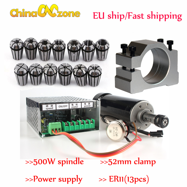 500W Air Cooled Spindle ER11 Chuck CNC 0.5KW Spindle Motor + 52mm clamps + Power Supply speed governor For DIY CNC