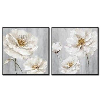 Flores blancas pintura al óleo abstracta hermosa pared arte decoración del hogar cuadro moderno pintado a mano pintura al óleo sobre lienzo sin marco