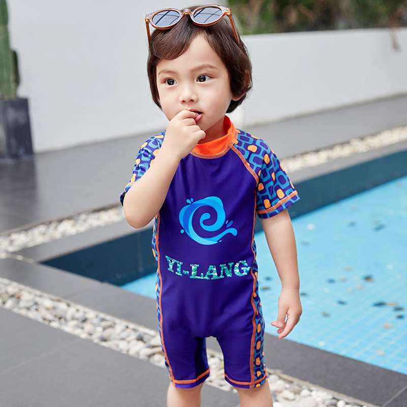 2019 New Style KID'S Swimwear BOY'S Summer 1-7-Year-Old Children One-piece Lettered Bathing Suit Sun-resistant Swimming Suit