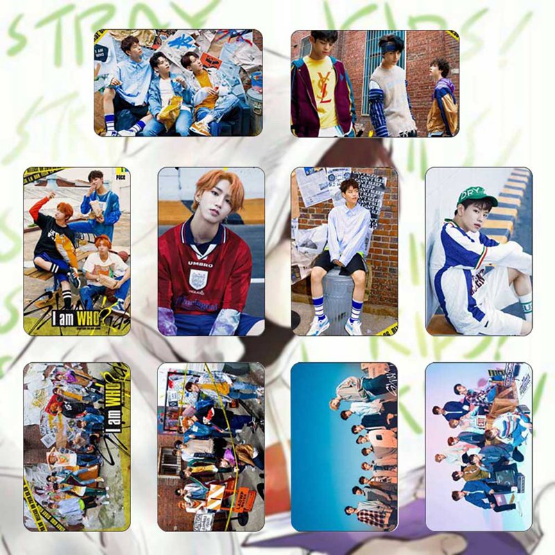 10Pcs/Set STRAY KIDS Sticky Photo Cards Fashion Crystal Bus Card Stickers Gift For Fans Collection