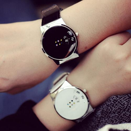 Fashion Couple Watch Alloy Round Dial Faux Leather Strap Colorful Moveable Dial Digital Unisex Men Women Lover's Wrist Watches