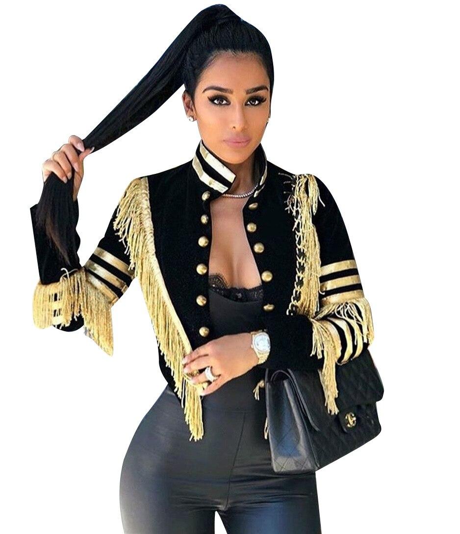 Echoine femmes sexy veste mode décontracté bande dor gland  manteau femme à manches longues militaire doré rayures grande taille  vêtements 3XLVestes de base