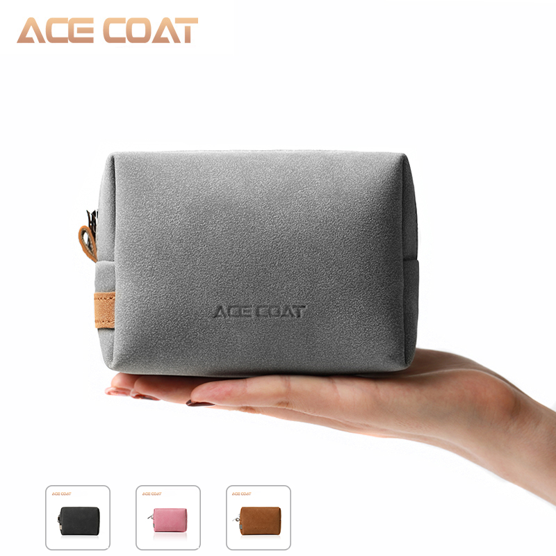 ACECOAT PU Mouse Pouch Sleeve Bag For Wireless Mouse Storage Laptop Adapter Charger USB Cable Multi Bag For Macbook