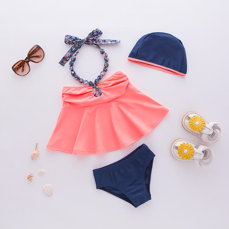 Girls' Two-piece Swimsuit Orange Neck Sling Hat-3 Pieces Children Hot Springs Tour Bathing Suit
