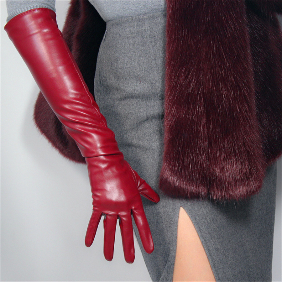 Ultra-Short Leather Gloves 13cm Long Simulation Leather Imitation Leather Imitation Sheepskin PU Deep Wine Red Crimson PUSH13