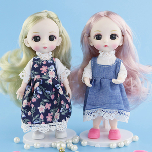 New 13 Moveable Jointed 16cm 1/8 Dolls Mini BJD Baby Pink Yellow Silver Hair Naked Women Body Fashion Dolls Toy For Girls Gift(China)