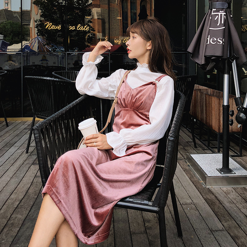 Special Section Autumn WOMEN'S Dress 2018 New Style Velvet Camisole Two-Piece Dress Early Autumn Skirt Autumn F5423