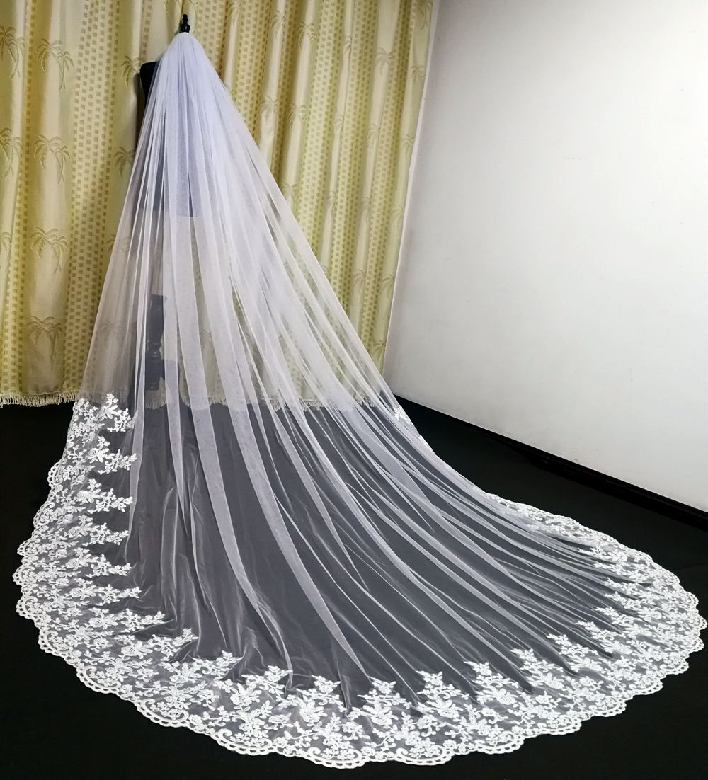 Real Photos Tulle Applique Cathedral Wedding Bride Veil White Ivory White Veil Hand Stitched Metal Comb