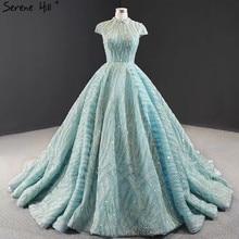 ברור מים כחול קצר שרוול בתוספת גודל שמלות כלה 2020 תחרה נצנצים גבוהה צווארון כלה שמלות עיצוב תמונה אמיתית BHM66981
