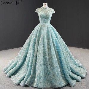 Image 1 - Czysta woda niebieski z krótkim rękawem Plus rozmiar suknie ślubne 2020 koronki cekinami wysoki kołnierz suknie ślubne projekt prawdziwe zdjęcie BHM66981