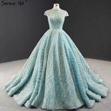 Robe de mariée en dentelle bleu clair à manches courtes, grande taille, col haut, en paillettes, modèle 2020, Photo réelle, BHM66981