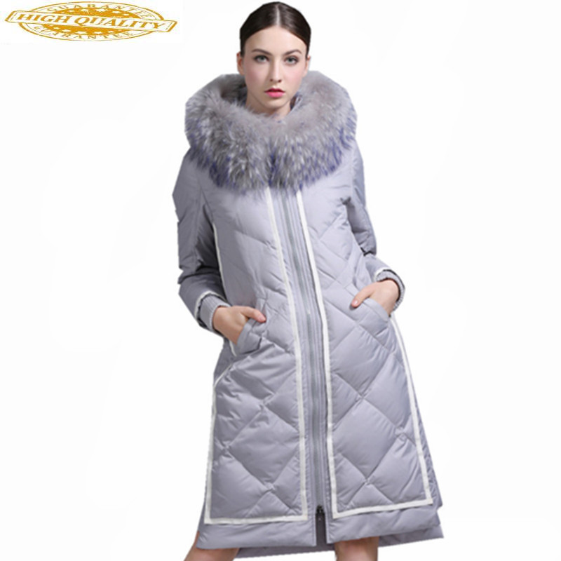 Fashion Women's White Goose Down Jacket Raccoon Fur Collar Parkas Warm Winter Coat Women Hooded Jackets Inverno WXF317