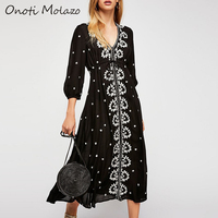 Onoti Molazo Embroidery Gothic Long Dress Women Autumn Sashes Adjustable Black Ladies Chic Dresses Female 2019 Winter New