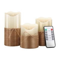 Flameless Candles  Led Battery Operated Candles Real Wax Flickering Moving Wick Electric Candle Sets with Hemp Rope Remote 24 Ho|  -