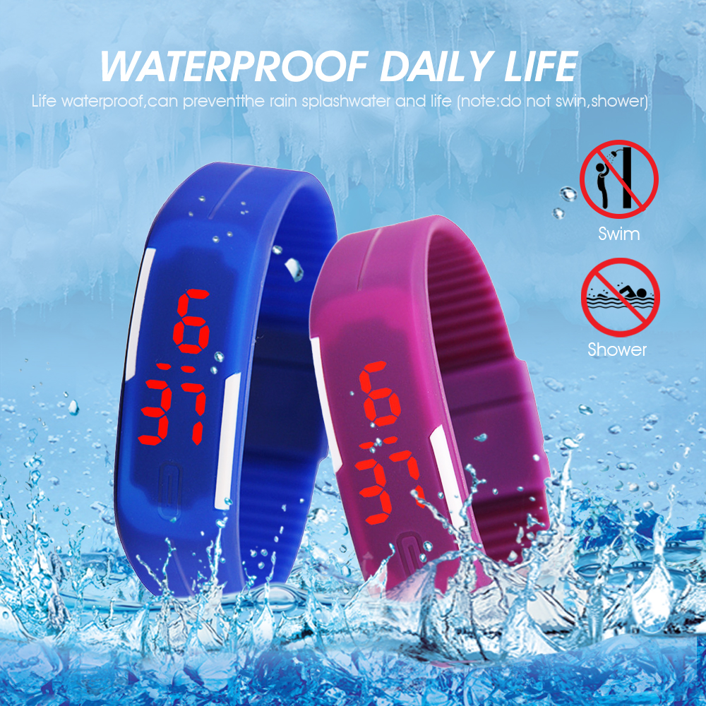 Men Women Watches Fashion Silicone Red LED Sports Bracelet Touch Digital Wrist Watch Electronic Wristwatches Clock Dropshipping