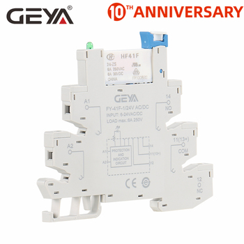 цена на GEYA Slim Relay PLC Interface Hongfa Relay Screw Socket 6A Relay 24VDC/AC Relay Socket 6.2mm thickness