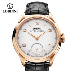 LOBINNI Seagull cuerda a mano mecánica movimiento masculino relojes de lujo suiza marca hombre reloj de pulsera impermeable hombre