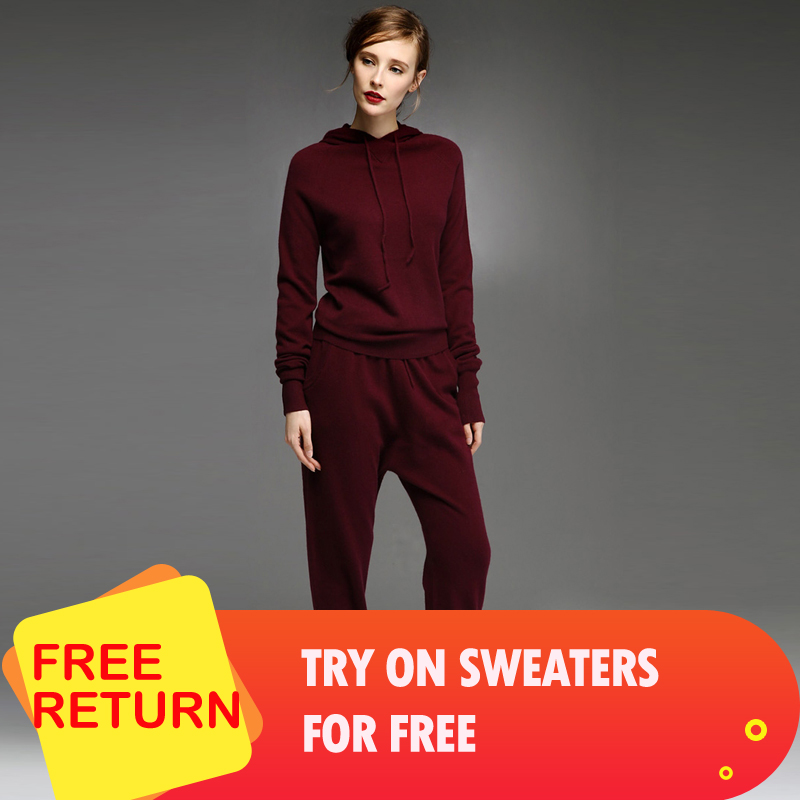 adohon womens winter 100% Cashmere sweaters and autumn women Pullovers Women's Sets knitted High Quality Warm Female Pants tops