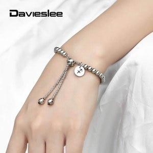 Zodiac Signs Charm Bracelet Wristband Adjustable 12 Constellations Classic Stainless Steel Beaded Bracelet for Women LDBM73