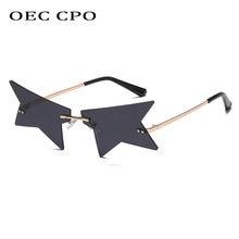 Oec cpo модные женские солнцезащитные очки без оправы в стиле