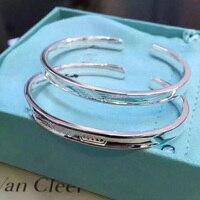 Couple 1837 Bracelet Couple 925 Silver Men 20g 026125 and Women 18.5g 026115 Open Black Titanium Bracelet With Gift Box