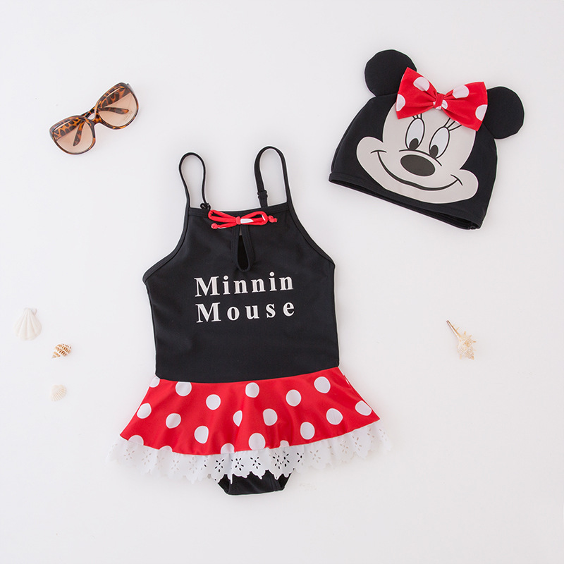 -Cartoon Printed Red Dotted Layers One-piece Swimming Suit