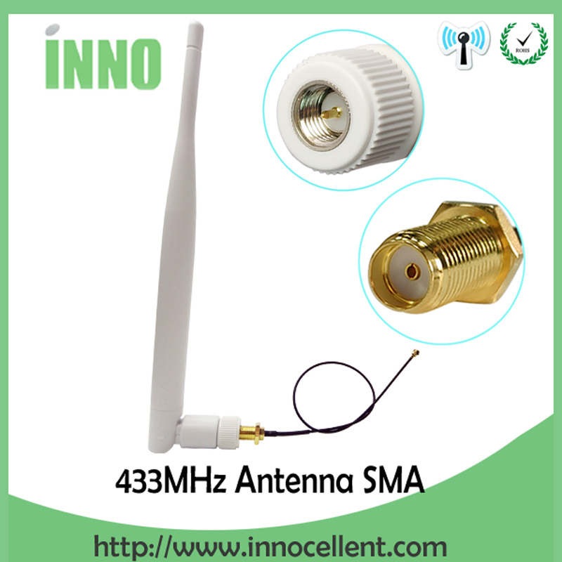 2pcs 433Mhz Antenna SMA Male Connector 433 Mhz Antena Aerial 433m Wireless Repeater+ RP-SMA  To Ufl./IPX Extension Pigtail Cable