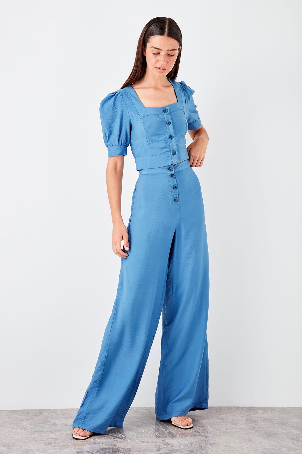 Trendyol Mavi Flare Pants TWOSS19PL0106