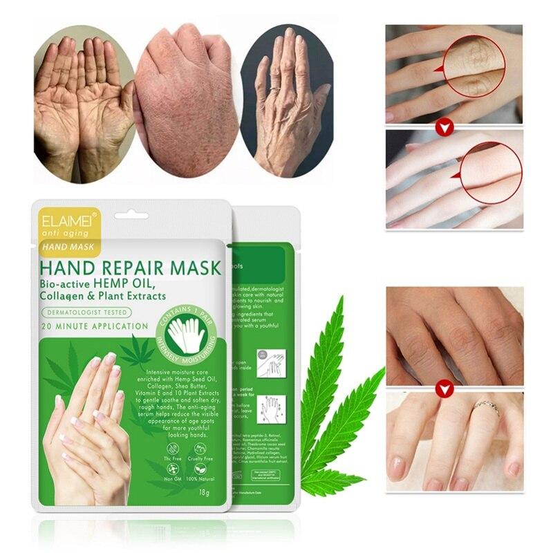 Effective Hemp Oil Moisturizing Exfoliating Hand Mask Glove Collagen Skin Care Anti Aging Hand Peeling Exfoliat