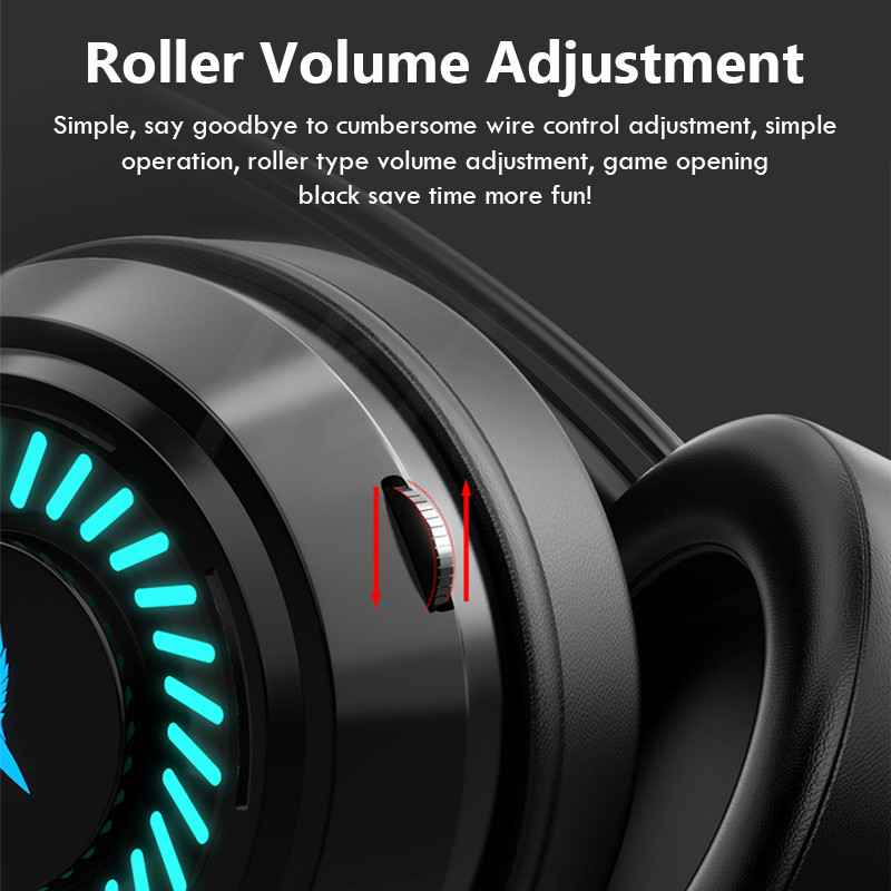 Gaming Headsets Gamer Headphones Surround Sound Stereo Wired Earphones USB Microphone Colourful Light PC Laptop Game Headset ps4