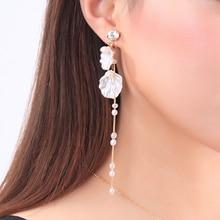 2019 New Fashion Accessory Crystal Shell Acrylic Pearl Long Chain Tassel Ear Clip For Women Earrings