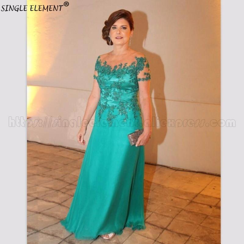 Vert 2019 mère de la mariée robes manches courtes Appliques perlée longue robe de mariée robe de mère pour le mariage