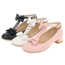 Zapatos de mujer con correa en t de AGODOR, zapatos de tacón bajo con lazo, tacones de bloque, punta redonda, lolita, zapatos vintage para cosplay, mujer, negro, blanco, rosa, talla grande