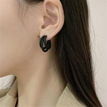 XIALUOKE-pendientes de Metal con forma de aguja para mujer, aretes pequeños, estilo Retro, multicapa, color negro, estilo bohemio, ER0055