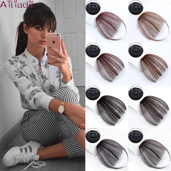 AILIADE Heat Resistance Synthetic Clip In Side Fringe Hair Neat Bang Straight Thin Blunt Air Bangs Natural False Hairpieces - discount item  40% OFF Synthetic Hair