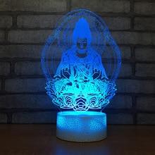 Буддизм 7 цветов лампа 3d Визуальный светодиодный Ночной светильник Размер s для детей сенсорный Usb Таблица Lampara лампе сна движения светильник