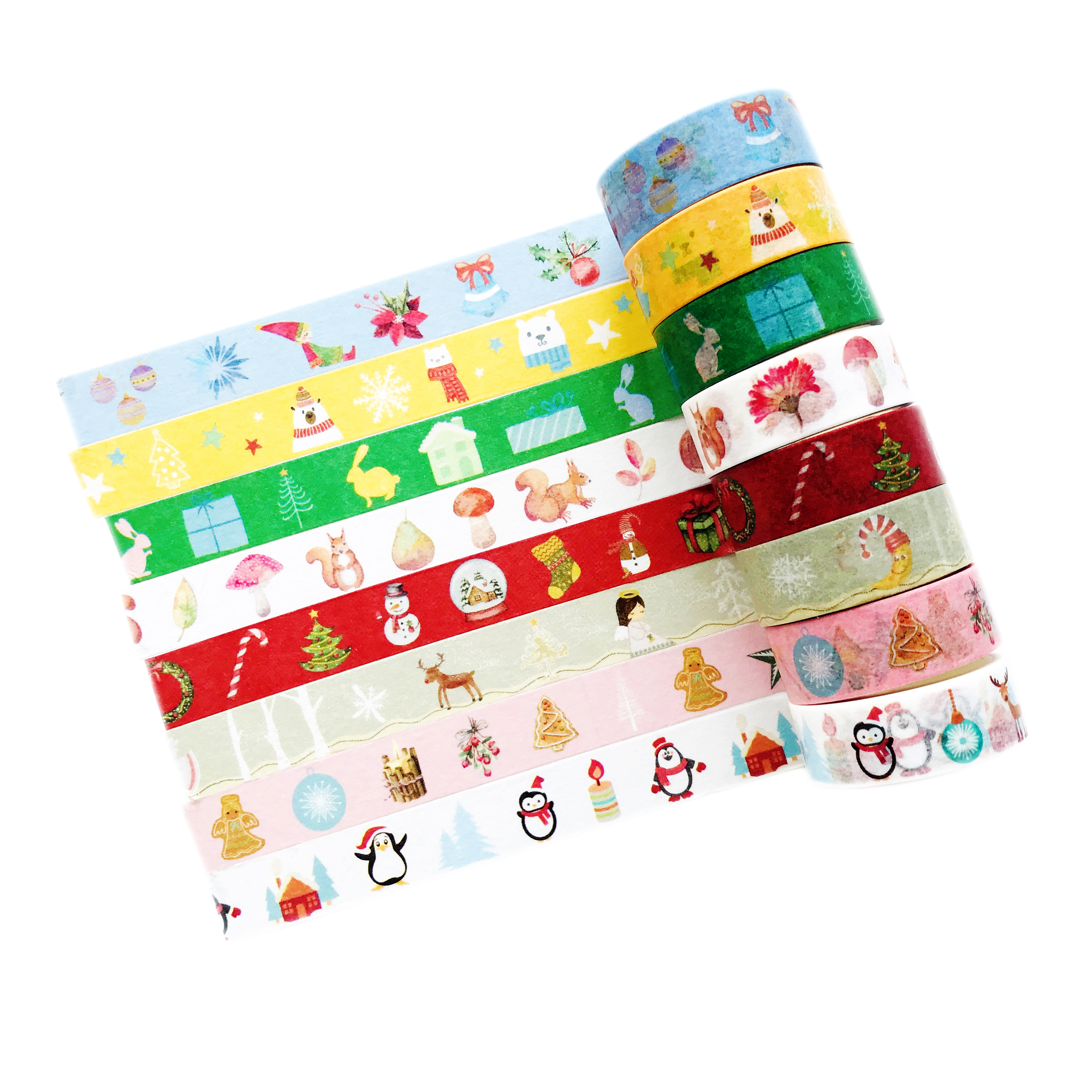 1.5CM*5M Merry Christmas Series Snow Man Penguin Angel Gingerbread Man Elf Masking Tape Washi Tape Stationery Kids Gift