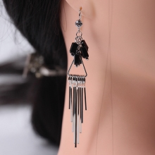 1 Pair of Japanese and Korean Style Simple Tassel Long   Earrings Women's Single Diamond Creative Earhook Crystal   Earrings