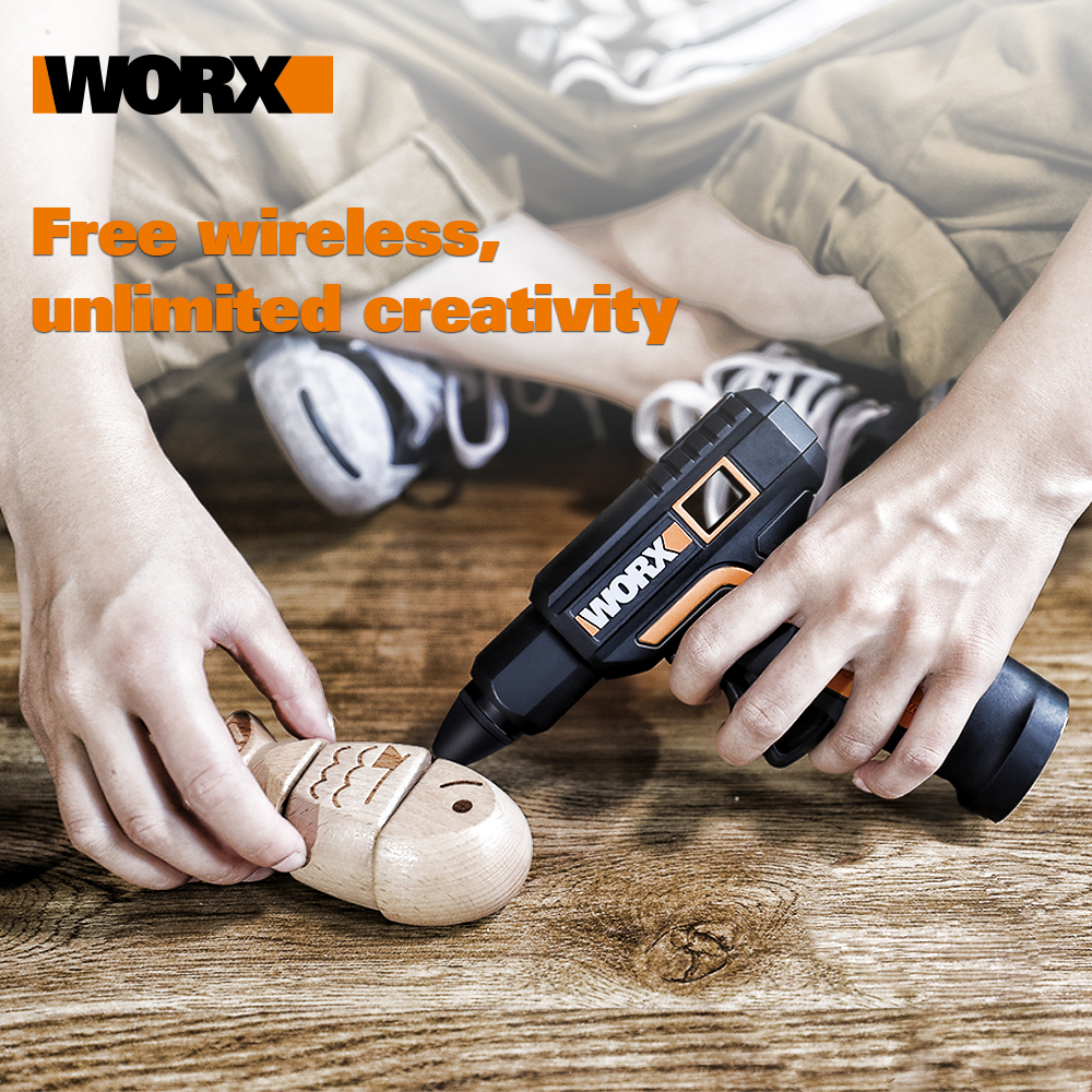 Tools : Worx 4V Melt Hot Glue Gun WX890 Electric glue gun Rechargeable Wireless Repair Tool Heat Mini Gun 7mm Glue Stick Household Tool