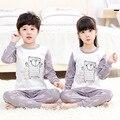 Crianças pijamas conjunto de roupas primavera outono manga comprida + calça 2 peça pijamas de algodão crianças dos desenhos animados sleepwear sleepwear terno homewear
