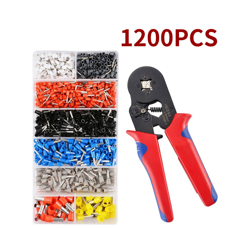 1200pcs/Pack E0508 E7508 E1008 E1508 E2508 Insulated Ferrules Terminal Block Cord End Wire Connector Electrical Crimp Terminator