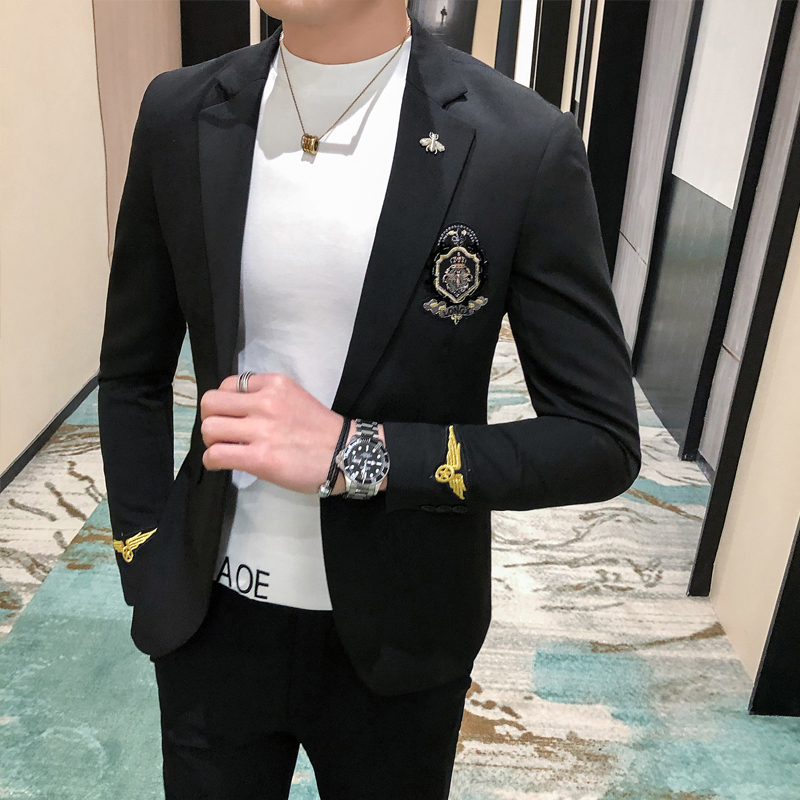 2020 Spring Casual Blazer Suit Jacket New Embroidery Black Social British Blazers Men Suits Wedding Coat Club DJ Stage Clothers