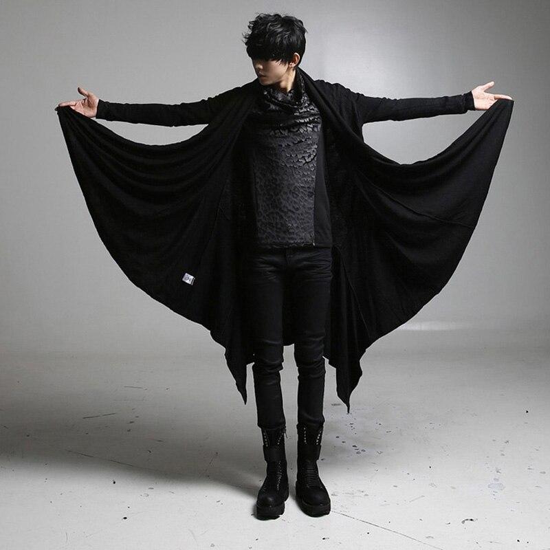 Mens Hooded Jacket Coat Gothic Punk Hoodie Sweatshirt Long Cardigan Outwear