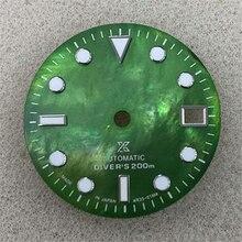 29MM wymiana tarczy zegarka zielona świecąca tarcza do części modyfikacji ruchu zegarka NH35/4R36