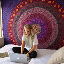 Tapiz Rectangular Retro Mandala India tapiz Hippie pared colgante Impresión Digital playa Toallas protector solar cuadrado chal(China)